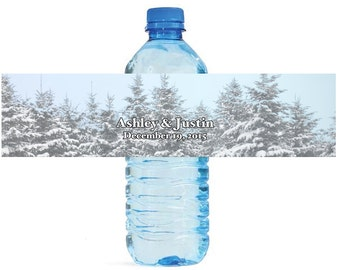 Winter Wedding with snow on trees Wedding Anniversary Water Bottle Labels Customizable easy to use, self stick labels