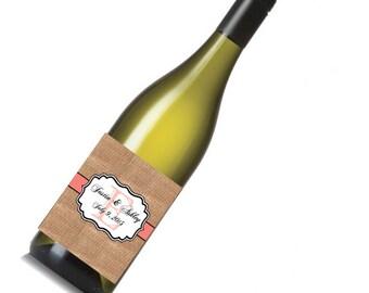 Burlap Coral Stripe Wedding Beer or Wine Bottle Labels Great for Engagement Bridal Shower Party