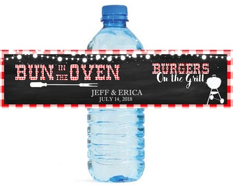 Bun in The Oven Burgers On The Grille Chalkboard & Gingham Baby Shower Water Bottle Labels Party easy to apply and use cookout BBQ Baby Q