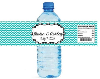 Etsy Chevron Blue Wedding Water Bottle Labels Great for Engagement Bridal Shower Party