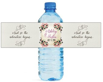 And So The Adventure Begins Contemporary Textured background Wedding Water Bottle Labels Great for Engagement Party Bridal Shower Travel