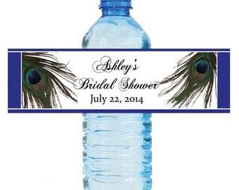 Peacock  Wedding Anniversary Bridal Shower Water Bottle Labels Great for Engagement Party