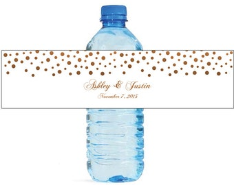 Bronze Confetti on white background Wedding Anniversary Water Bottle Labels Customizable labels self stick, easy to use