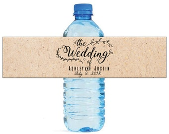 The Wedding Water Bottle Labels Great for Weddings, Engagement Bridal Shower Party Easy to use self stick labels
