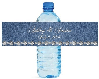 Denim & Diamonds Wedding Water Bottle Labels Great for Engagement Bridal Shower Party easy to apply and use