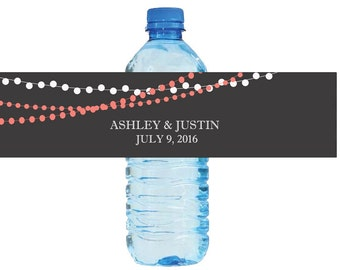 Modern background with Coral colored string lights Wedding Water Bottle Labels Great for Engagement Bridal Shower Party