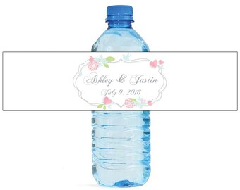 Floral frame on white background Wedding Water Bottle Labels Great for Engagement Bridal Shower Party easy to apply and use