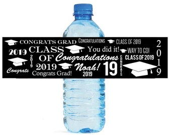 Congrats Grad Graduation Theme Water Bottle Labels Great for Graduations, promotions