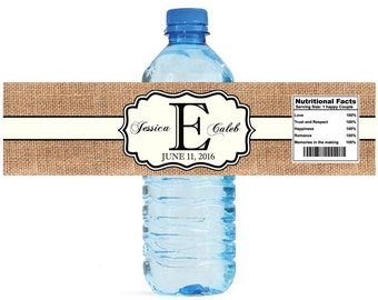Burlap and Ivory Stripe Monogram Wedding Water Bottle Labels Great for Engagement Bridal Shower Party Easy to use self stick label