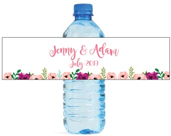 Water Color Flowers Wedding / Engagement party / special occasion self adhesive water bottle labels
