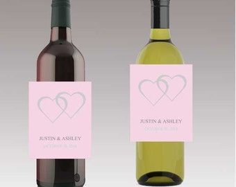 Modern Pink Wedding Beer or Wine Bottle Labels Great for Engagement Bridal Shower Party