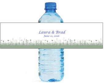 Grassy Fields Wedding Water Bottle Labels Great for Engagement Bridal Shower Party Bridal shower party, outdoor parties, get togethers