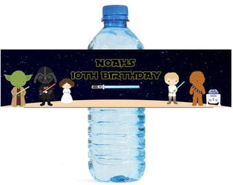 Space Wars Theme Water Bottle Labels Celebrations Birthday Party, Kids party, space party