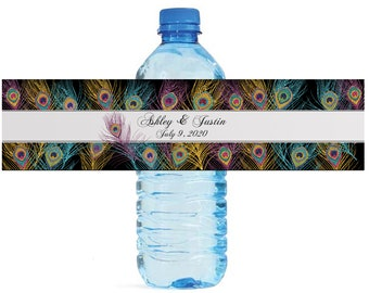 Peacock feathers on black Water Bottle Labels Great for weddings, anniversary, birthday, engagement party and any other special occasion