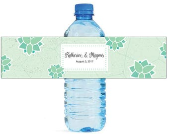 Geometric Green Floral Wedding Water Bottle Labels Great for Engagement Bridal Shower Birthday Party Sweet 16 Spring Party