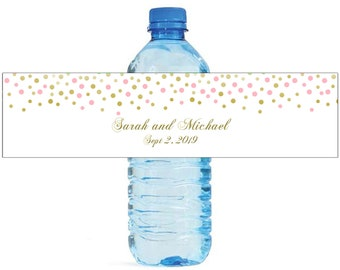 Pink and Gold Confetti falling on white background with gold writing Wedding Anniversary Water Bottle Labels Customizable labels self stick