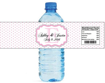 Pink Swiss Monogram Wedding Water Bottle Labels Great for Engagement Bridal Shower Party easy to apply and use