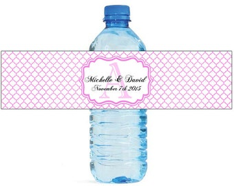 Pink Quatrefoil Moroccan Wedding Water Bottle Labels Great for Engagement Bridal Shower Party Birthday party or any other special occasion