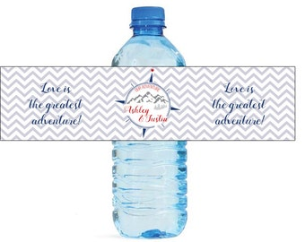 Chevron adventure Theme World Traveller Wedding Water Bottle Labels Great for Engagement Bridal Shower Party Easy to use self stick