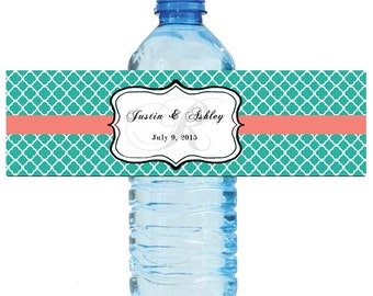 Coral and Teal Monogram Wedding Water Bottle Labels Great for Engagement Bridal Shower Party