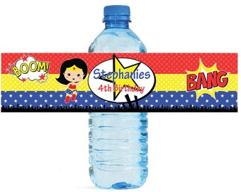 Super Hero Girl Theme Kids Birthday Water Bottle Labels Great for all sorts of parties and get togethers easy to use self stick labels