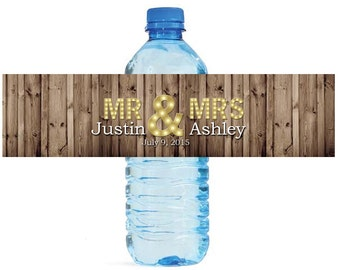 Rustic Wood Marquee Mr. & Mrs Wedding Anniversary Engagment Party Water Bottle Labels Customizeable self stick labels