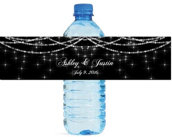 Twinkling Stars Wedding Water Bottle Labels Great for Engagement Bridal Shower Party easy to apply and use glowing stars