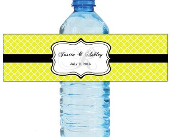 Yellow Monogram Water Bottle Labels Great for Engagement Bridal Shower Wedding anniversay birthday Party