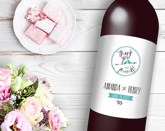 Thank You Friends Wine / Beer Bottle Labels Great for Engagement Bridal Shower Party self stick easy to use labels
