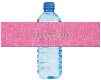 Pink Linen Wedding Water Bottle Labels Great for Engagement Bridal Shower Party