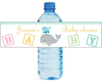 Mom and Baby Whale Baby Shower Theme Water Bottle Labels Celebrations animal theme