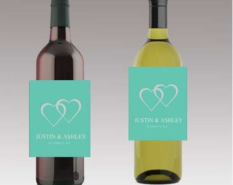 Modern Mint Married Wedding Beer or Wine Bottle Labels Great for Engagement Bridal Shower Party