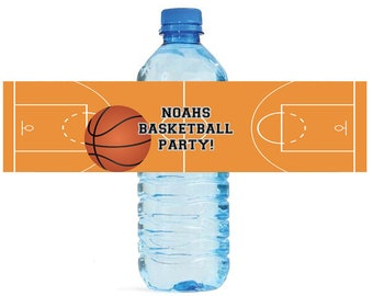 Basketball Party labels Great for kids Birthday party Water Bottle Labels court Celebrations Tournaments playoffs ball camp