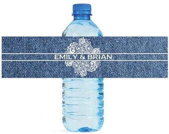 Denim with Lace Wedding Water Bottle Labels Great for Engagement Bridal Shower Party