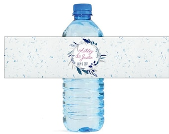 Blue Wreath Floral Wedding Water Bottle Labels Great for Engagement Bridal Shower Birthday Party, family reunions  Easy to use labels