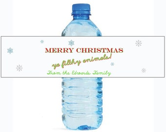 Merry Christmas ya filthy animal Water Bottle Labels Perfect for your holiday gatherings