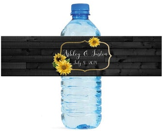 Sunflower Frame on Rustic Wood Wedding Water Bottle Labels Great for Engagement Bridal Shower Birthday Party Anniversary