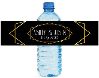 Gold Geometric on Black Water Bottle Labels Great for Wedding Engagement Bridal Shower Birthday Party Sweet 16 Party