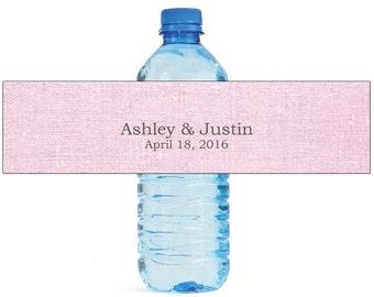 Light Pink Linen Wedding Water Bottle Labels Great for Engagement Bridal Shower Party