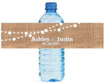 Burlap and White Market Lights Wedding Water Bottle Labels Great for Engagement Bridal Shower Party 2 sizes available