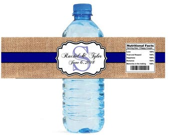 Burlap with Navy Blue Stripe Monogram Wedding Water Bottle Labels Great for Engagement Bridal Shower Party
