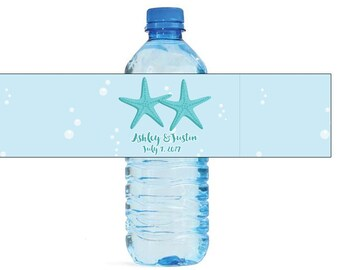 Two Starfish Nautical Beach Wedding Anniversary Water Bottle Labels Customizeable labels easy to use, self stick label