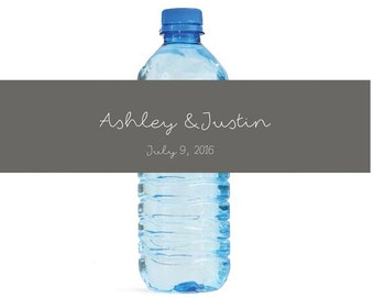 Modern Day Script writing Wedding Water Bottle Labels Great for Engagement Bridal Shower Party