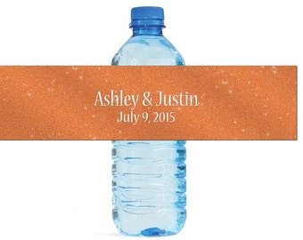 Modern Orange Glitter Wedding Water Bottle Labels Great for Engagement Bridal Shower Party