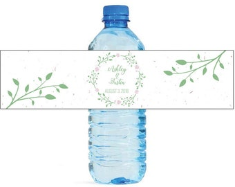 Green Wreath and Pink Flowers white background Wedding Water Bottle Labels Great for Engagement Bridal Shower Birthday Party