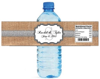 Burlap with Silver Glitter Stripe Monogram Wedding Water Bottle Labels Great for Engagement Bridal Shower Party 2 sizes available