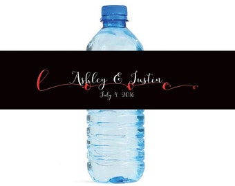 Romantic Love Wedding Water Bottle Labels Great for Engagement Bridal Shower Party easy to apply and use