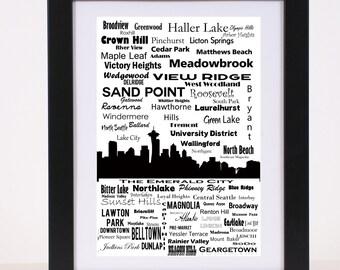 Seattle Communites and Neighborhoods Skyline Poster Emerald City