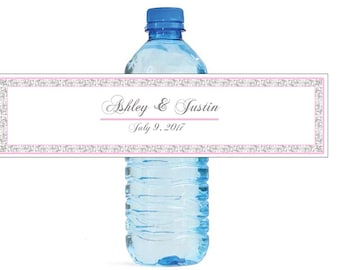 Grey Lace and Pink Border Wedding Water Bottle Labels Great for Engagement Bridal Shower Birthday Party Easy to use self stick