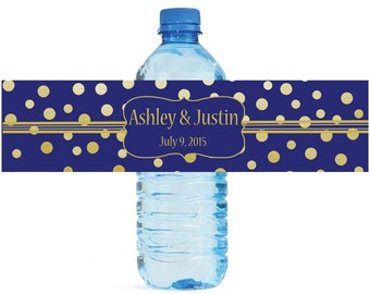 Gold Confetti on Navy Blue background Wedding Anniversary Water Bottle Labels Customizable labels 2 sizes available